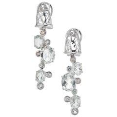 2.90 Carat Aquamarine Diamond White Gold Dangle Drop Earrings