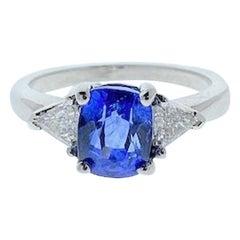 AGL Certified  2.90 Carat Cushion Cut Blue Sapphire & Diamond Ring in 18 K Gold