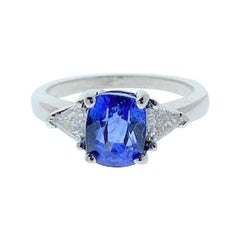 2.90 Carat Cushion Cut Blue Sapphire and Diamond Cocktail Ring in 18 Karat Gold