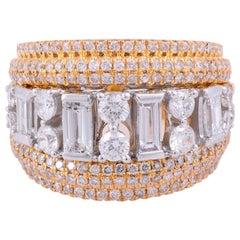 2.90 Carat Diamond 18 Karat Gold Two-Tone Ring