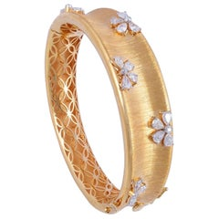 2.90 Carat Diamond 18 Karat Rose Gold Floral Bangle Bracelet