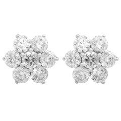 2.90 Carat Diamond 18 Karat White Gold Flower Stud Earrings