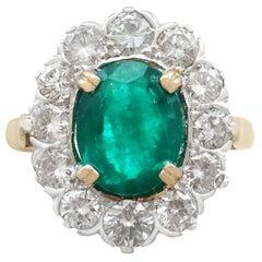 2.90 Carat Emerald & 2.38 Carat Diamond Yellow Gold Cluster Ring