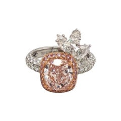 2.90 Carat Fancy Light Pink Cushion Cut Diamond Ring in Platinum GIA VS2