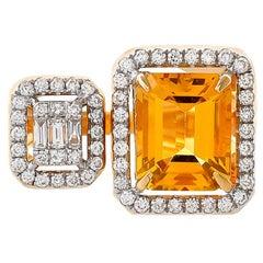 2.90 Carat Honey Quartz Diamond Baguette 18 Karat Yellow Gold Ring