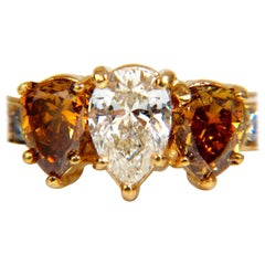 2.90 Carat Natural Fancy Vivid Yellow Brownish Diamond Pear Shape Ring 18 Karat