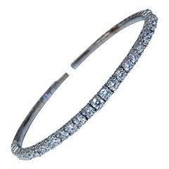 2.90 Carat Natural Round Diamonds Flexible Tennis Bangle Bracelet 14 Karat