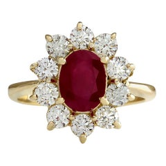 2.90 Carat Natural Ruby 18 Karat Yellow Gold Diamond Ring