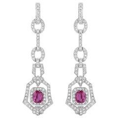 2.90 Carat Pink Sapphire Diamond Dangle Earrings
