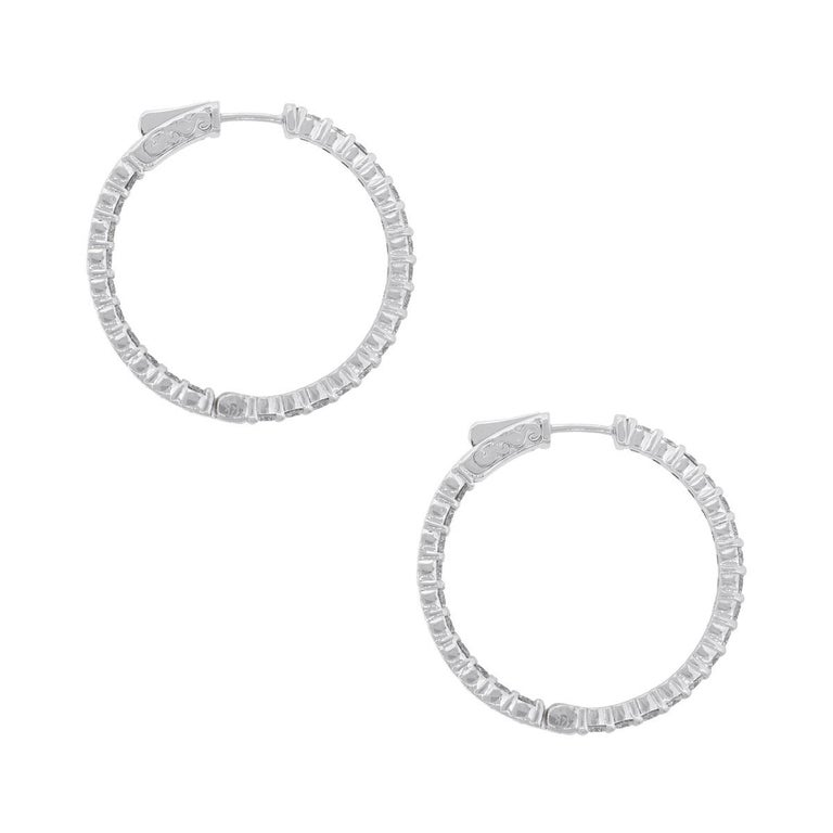 Round Cut 2.90 Carat Round Diamond Inside Out Hoops For Sale