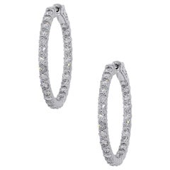 2.90 Carat Round Diamond Inside Out Hoops