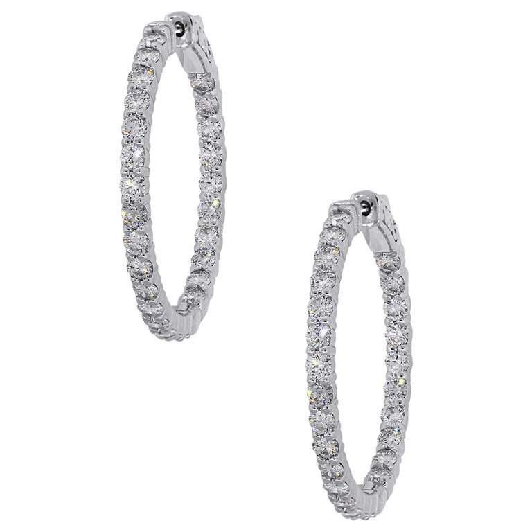 2.90 Carat Round Diamond Inside Out Hoops For Sale