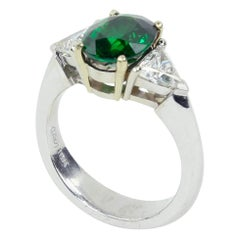 2.75 Carat Tsavorite Garnet Diamond Solitaire Gold Ring