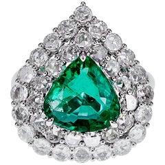 2.90 Carat Vivid Green Natural Emerald and 1.43 Carat Diamond Solitaire Ring