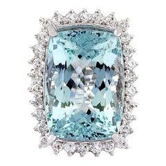 29.03 Carat Aquamarine 18 Karat Solid White Gold Diamond Ring
