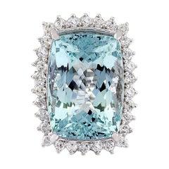 29.03 Carat Natural Aquamarine 18 Karat Solid White Gold Diamond Ring