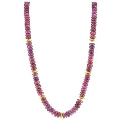 290.44 Carat Total, Ruby Bead Necklace, Yellow Gold Accents