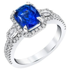 2.91 Carat Blue Sapphire Cushion, Diamond Baguette, White Gold Cocktail Ring