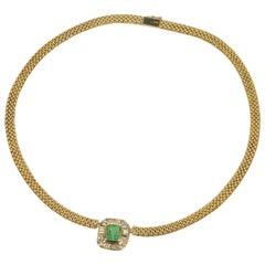 2.91 Carat Emerald Diamond Gold Halo Necklace
