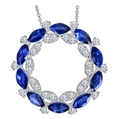 2.91 Carat Marquise Cut and Round Diamond Pendant