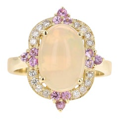 2.91 Carat Opal Diamond 18 Karat Yellow Gold Ring