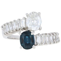 2.91 Carat Oval Cut Sapphire and Diamond Ring, Platinum Bypass GIA
