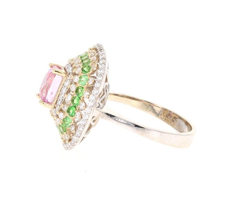 Modern 2.91 Carat Pink Sapphire Tsavorite Diamond 14 Karat White Gold Ring For Sale