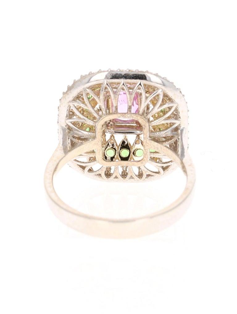 Emerald Cut 2.91 Carat Pink Sapphire Tsavorite Diamond 14 Karat White Gold Ring For Sale