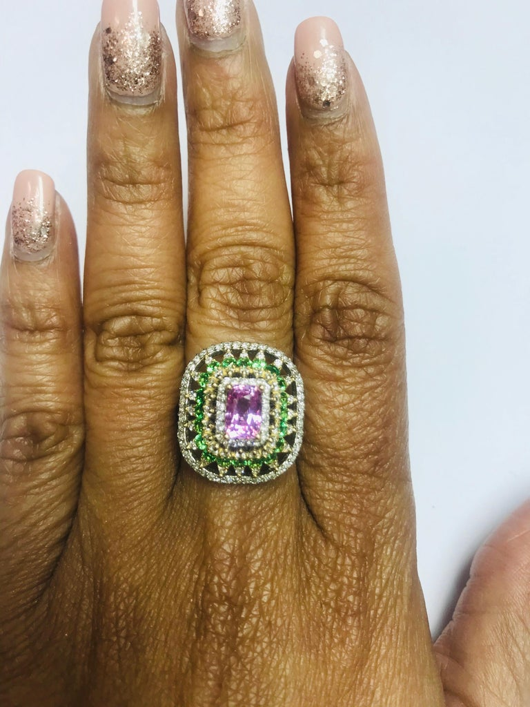 Women's 2.91 Carat Pink Sapphire Tsavorite Diamond 14 Karat White Gold Ring For Sale
