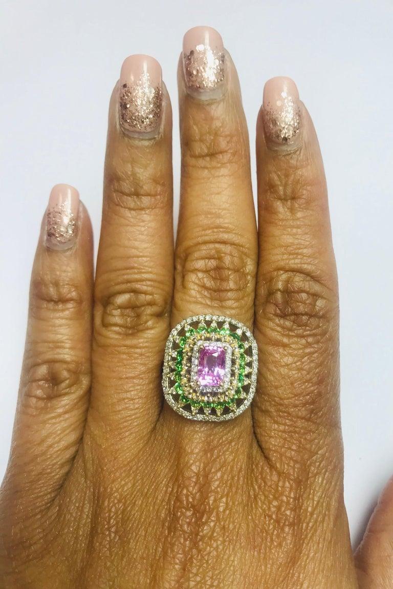 2.91 Carat Pink Sapphire Tsavorite Diamond 14 Karat White Gold Ring For Sale 1