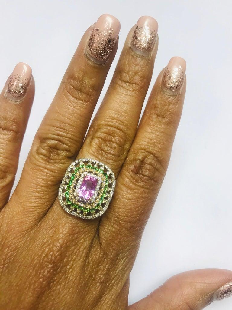 2.91 Carat Pink Sapphire Tsavorite Diamond 14 Karat White Gold Ring For Sale 2