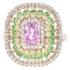 2.91 Carat Pink Sapphire Tsavorite Diamond 14 Karat White Gold Ring