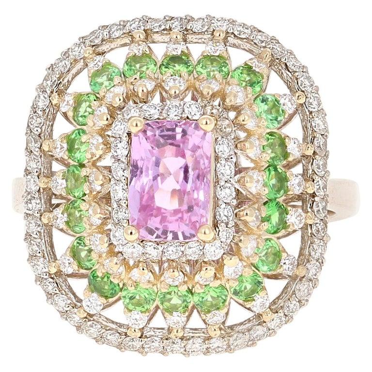 2.91 Carat Pink Sapphire Tsavorite Diamond 14 Karat White Gold Ring For Sale