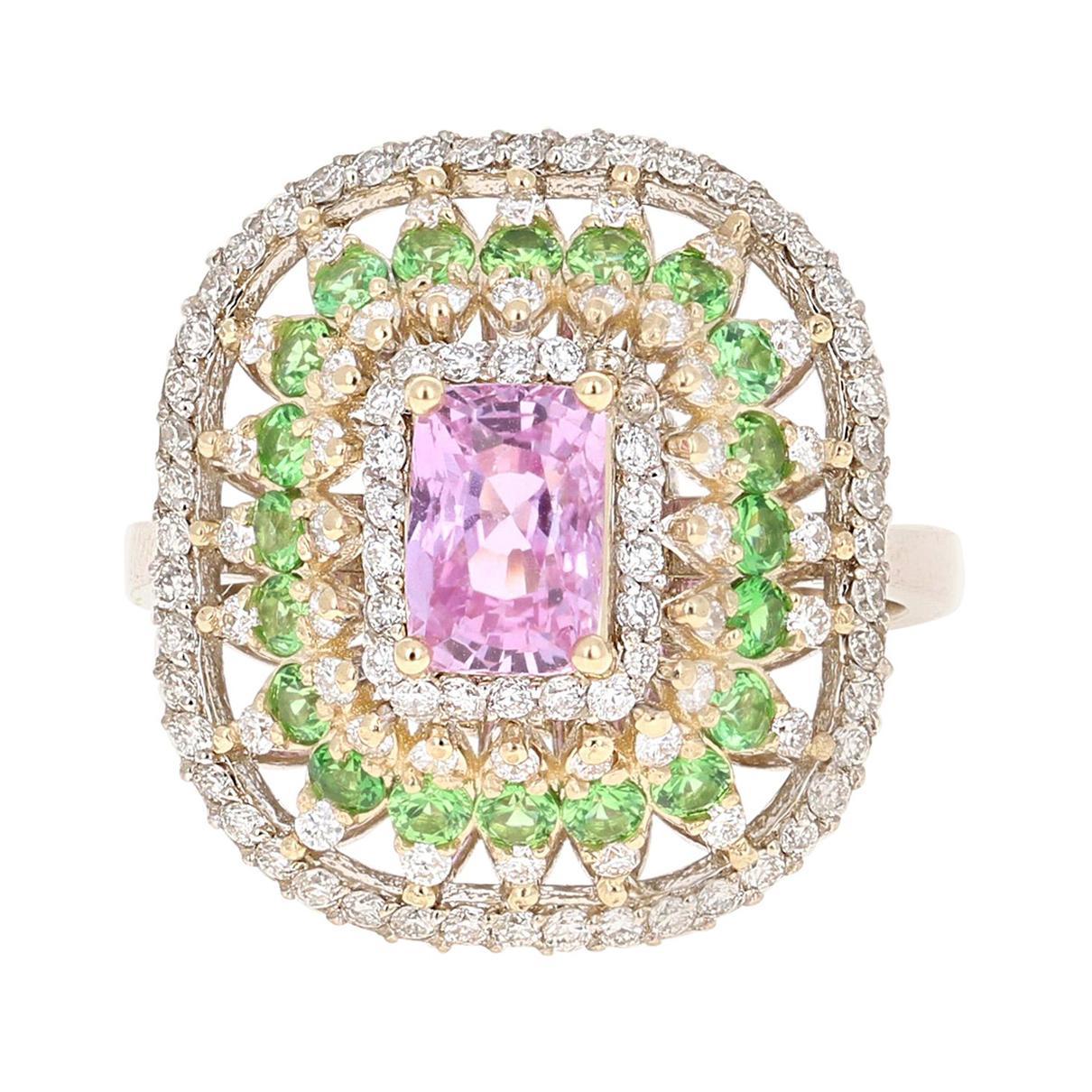 2.91 Carat Pink Sapphire Tsavorite Diamond 14 Karat White Gold Ring GIA Cert