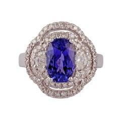 2.91 Carat Tanzanite & Diamond Ring Studded in 18K White Gold