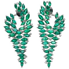 29.17 Carat Emerald Diamond 18 Karat White Gold Chandelier Earrings