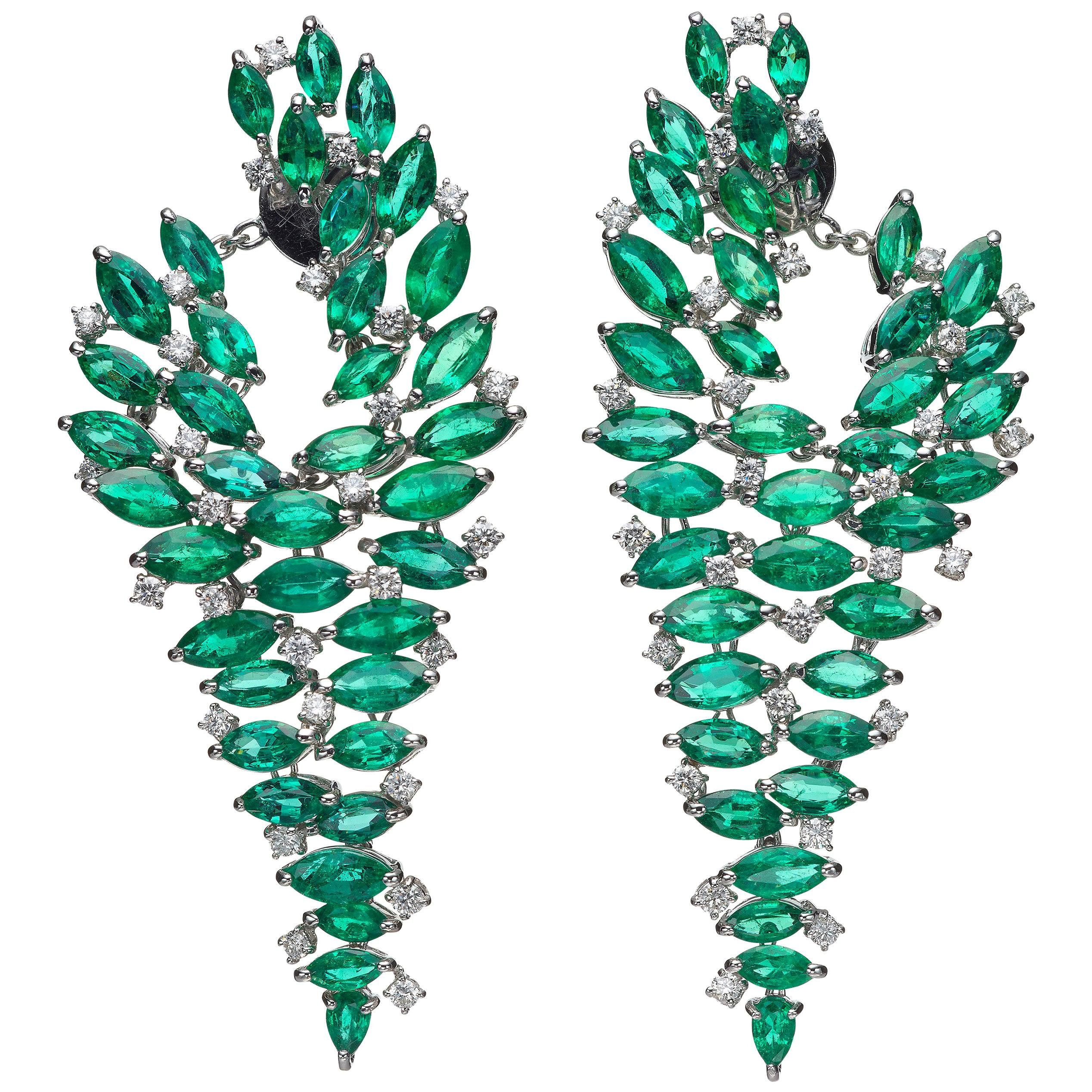 29.17 Carat Marquise Emerald Diamond 18 Karat White Gold Chandelier Earrings