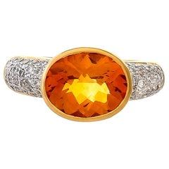2.92 Carat Citrine and Diamond 18 Karat Yellow Gold Ring