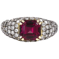 2.92 Carat Emerald Cut Rhodolite Garnet and Round Diamond Ring