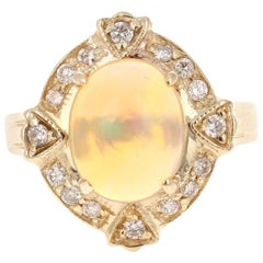 2.92 Carat Opal Diamond 14 Karat Yellow Gold Art Deco Ring