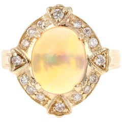 2.92 Carat Opal Diamond 14 Karat Yellow Gold Art Deco Style Ring