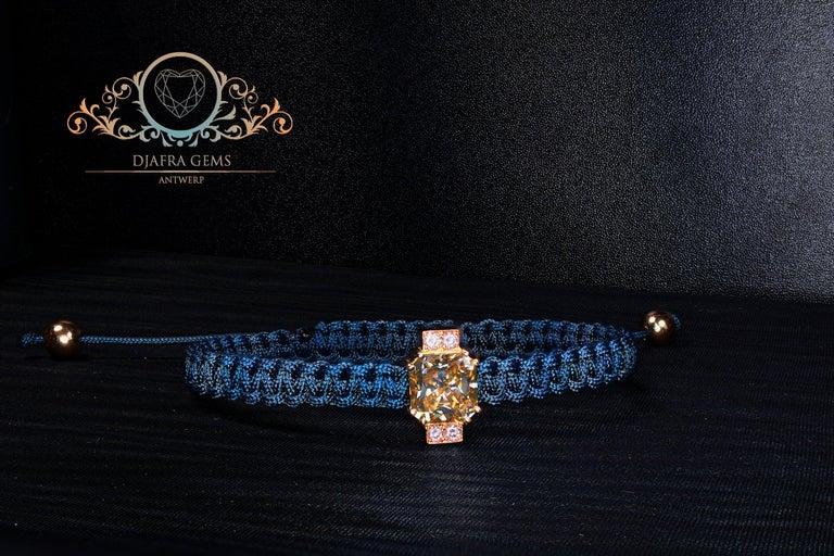 Contemporary 2.92 Carat Radiant Fancy Light Yellow Moissanite Diamond 18 kt Macrame Bracelet For Sale