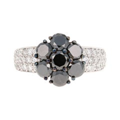 2.92 Carat Round Cut Black Diamond 14 Karat White Gold Engagement Ring