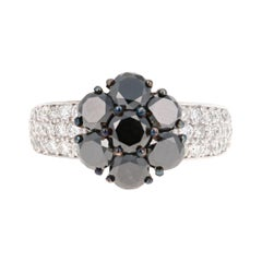 2.92 Carat Round Cut Black Diamond 14 Karat White Gold Engagement Ring