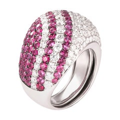 2.92 Carat Ruby Diamond 18 Karat White Gold Bombe Dome Cocktail Ring