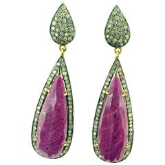 29.20 Carat Ruby 1.45 Carat Diamonds Sterling Silver 14 Karat Gold Earring