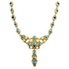 29.20 Carat Total Cabochon Moonstone Feldspar Drop Necklace in 21 Karat Gold