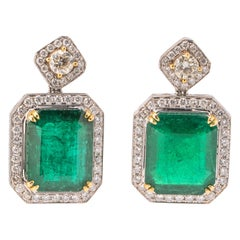 29.29 Carat Emerald and Diamond Drop Earrings