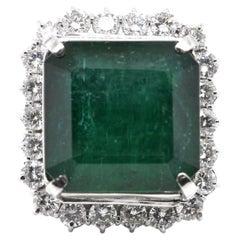 29.29 Carat Natural Emerald and Diamond Cocktail Ring Set in Platinum
