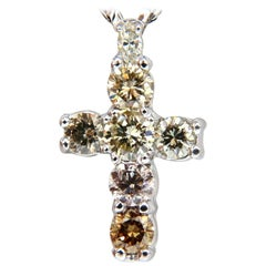 2.92 Carat Natural Fancy Colors Diamonds Cross Necklace